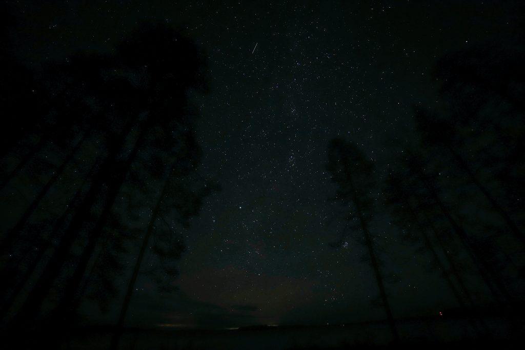 Tähdenlento tähtitaivaalla.