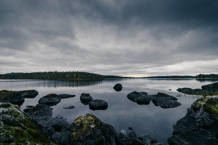 Tumma järvimaisema.