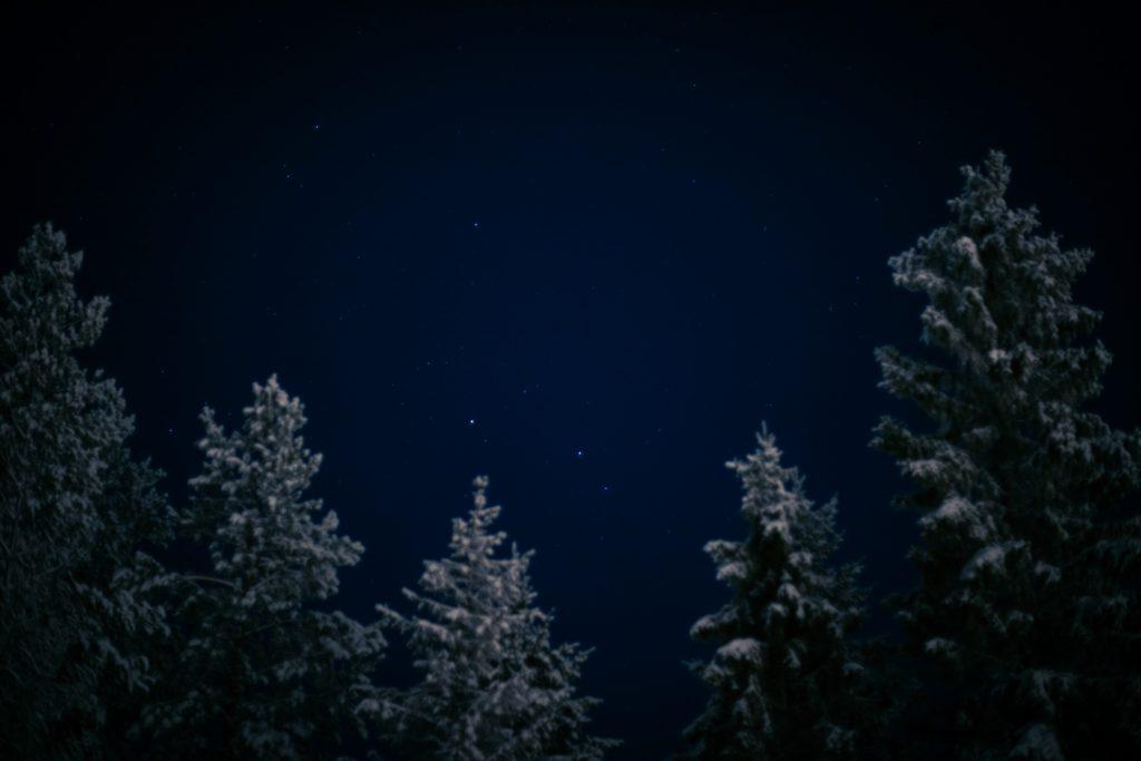 Talvinen tähtitaivas tuikkii kauniina.