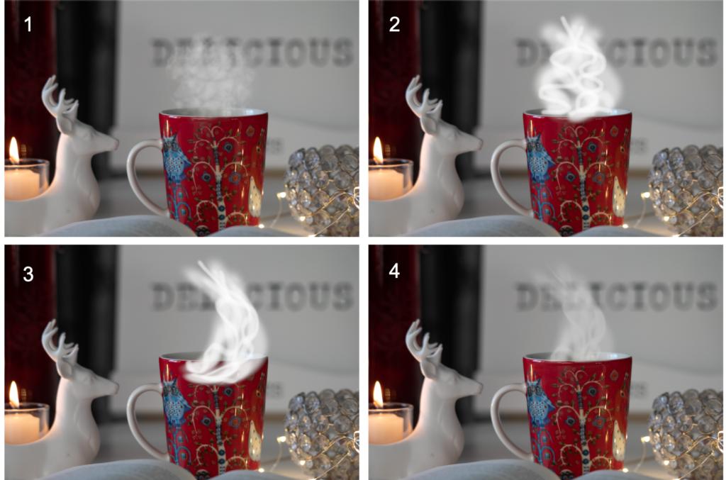 Höyryn tekeminen kahvikuppiin GIMPillä.