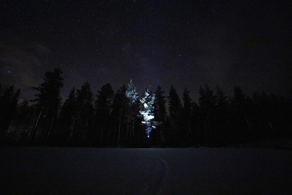 Tähtitaivas pellon yllä.