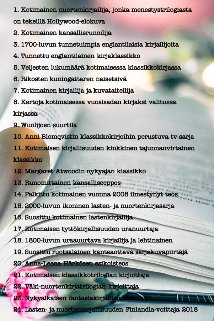 Kirja-aiheinen ristikko.