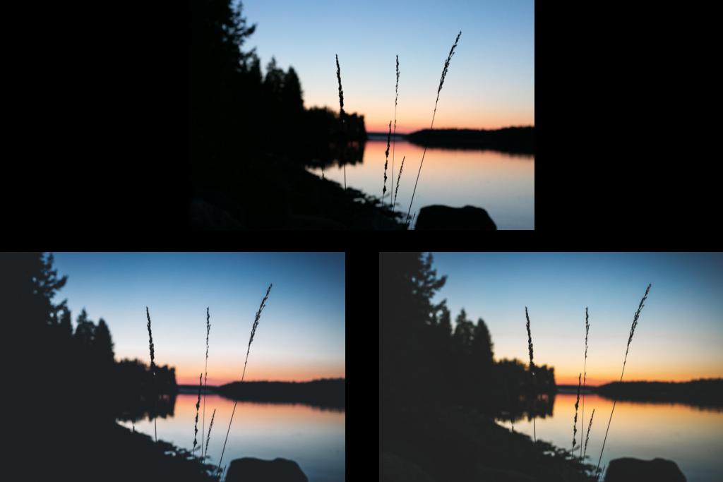 Ilta-auringon värihehkua järven takana.