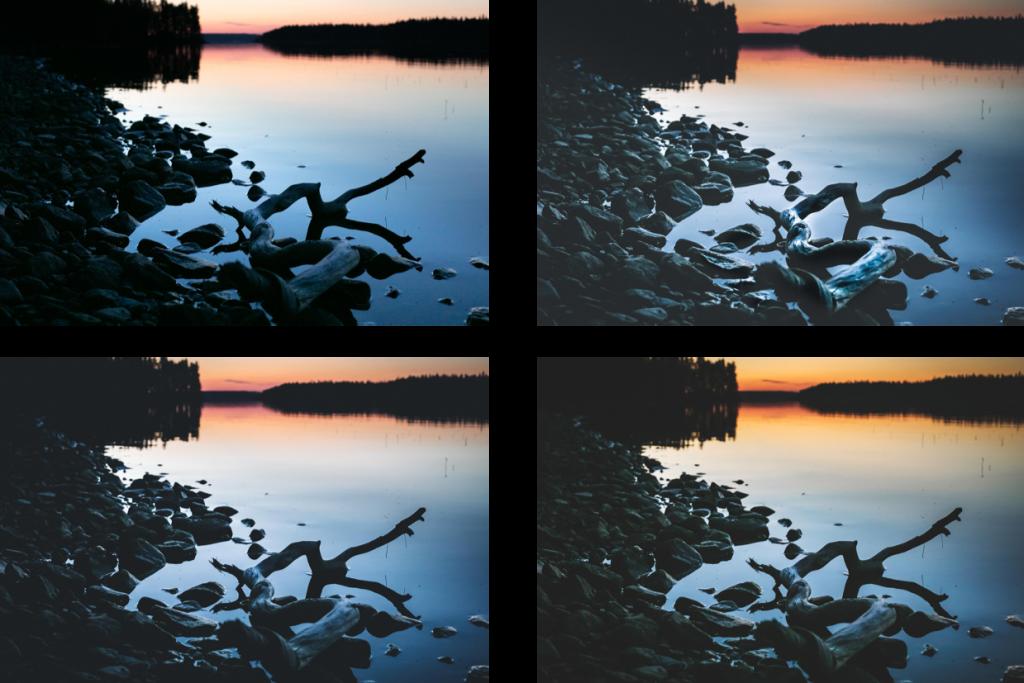 Iltaruskon värihehkua järven takana.
