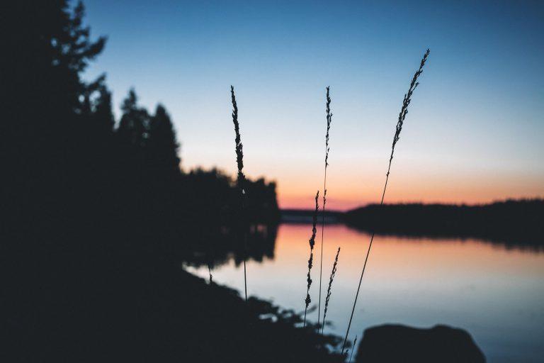 Punertavan iltaruskon kauneutta järven rannalla.