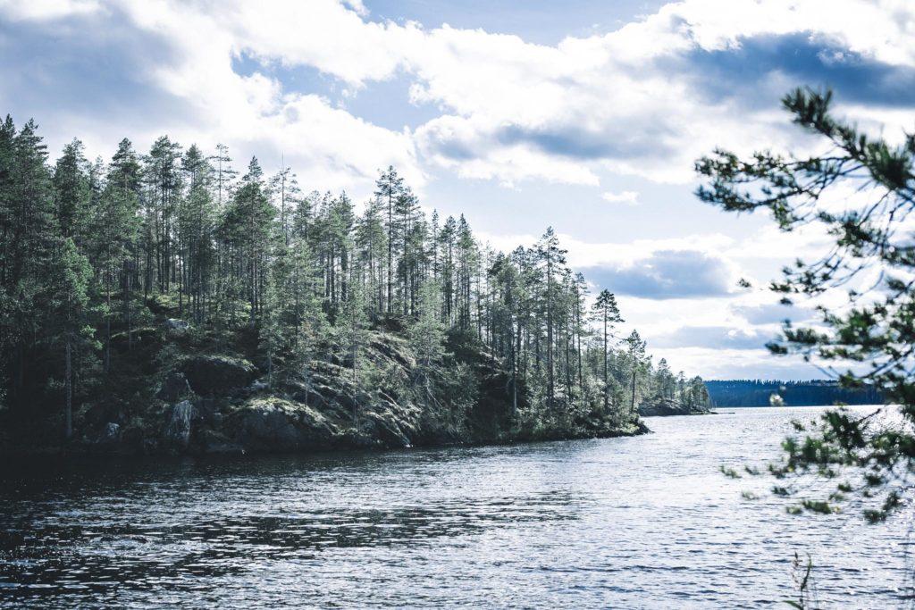 Kalliot järven rannassa.