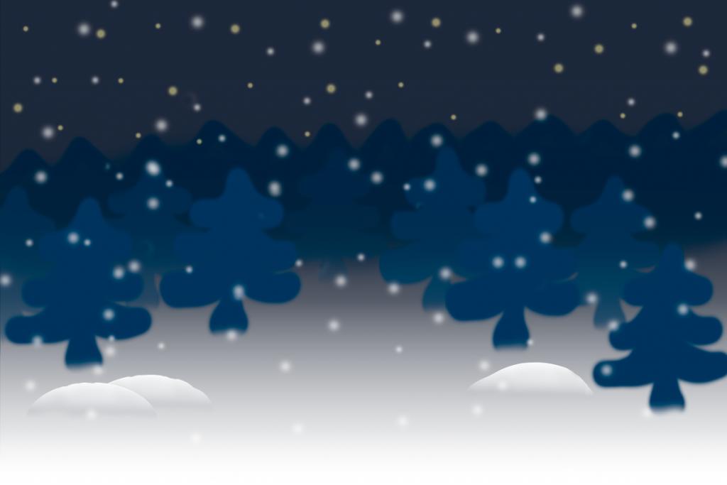 Piirretty talvinen maisema.