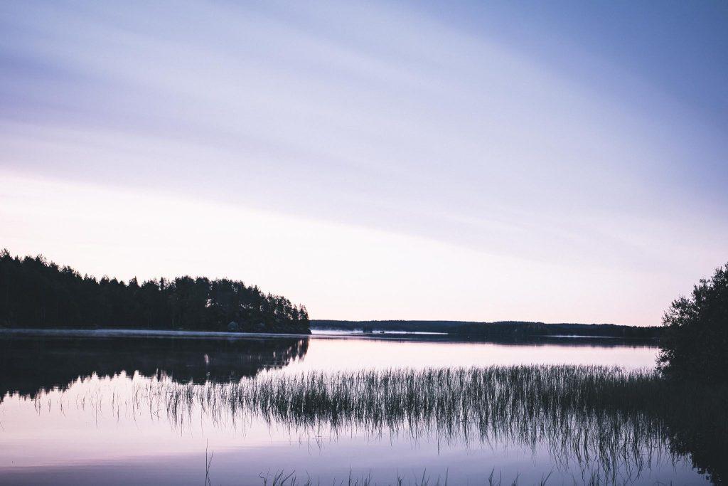 Vaaleanpunainen aamu ja usvaa järvellä.