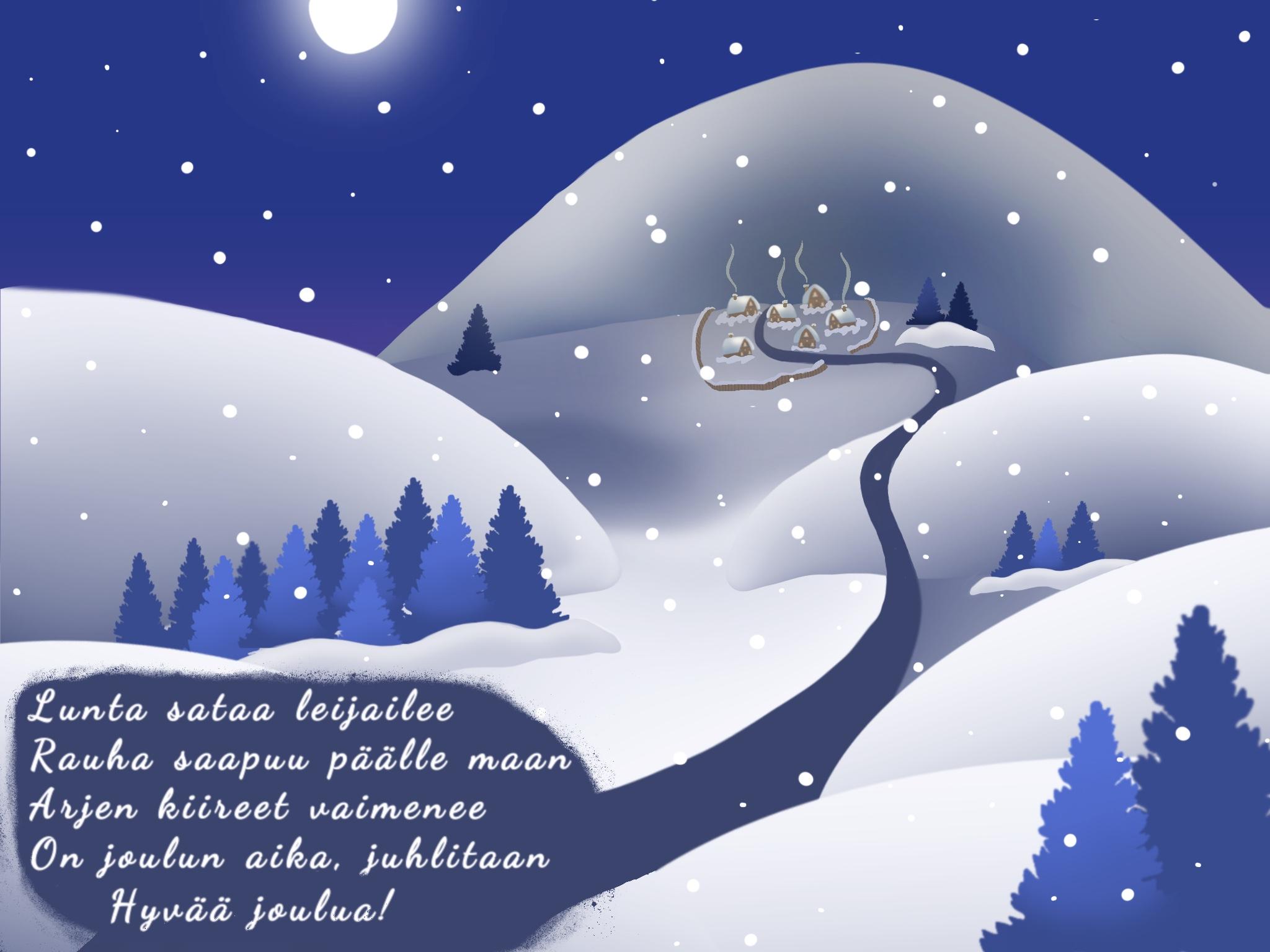 Jouluruno, hyvän joulun toivotus.
