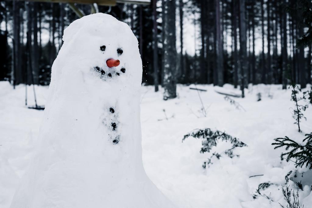 Lumileikit lasten kanssa, lumiukon rakentaminen.