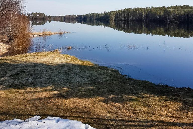Tyyni järvi keväällä.