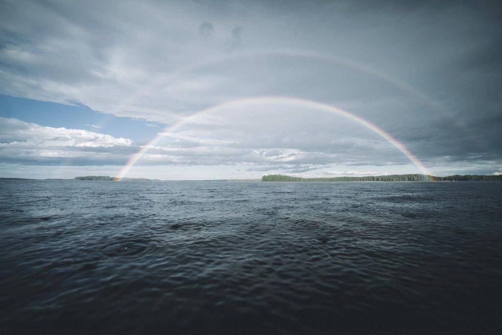 Sateenkaari ja sivusateenkaari järven yllä.