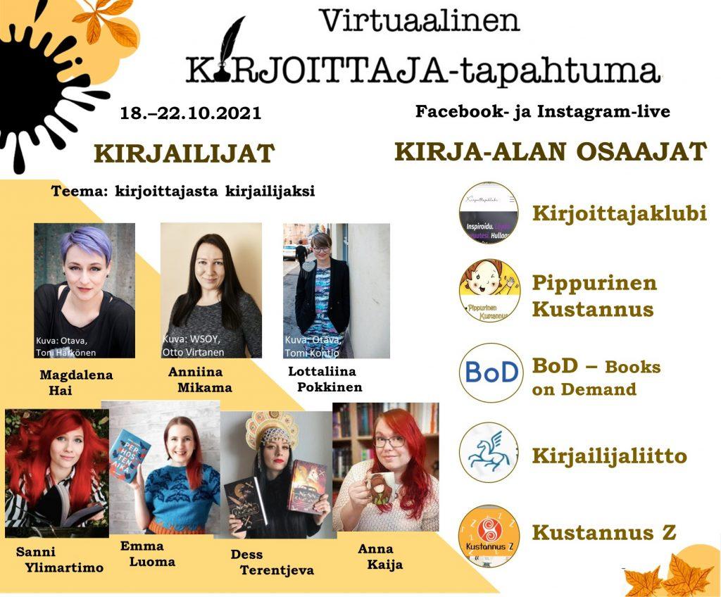Virtuaalisen KIRJOITTAJA-tapahtuman esiintyjät.